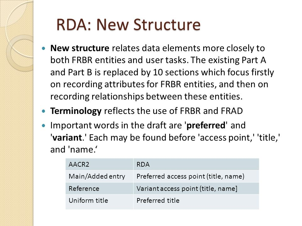 RDA: New Structure New structure relates data elements more closely to both FRBR entities and user tasks.