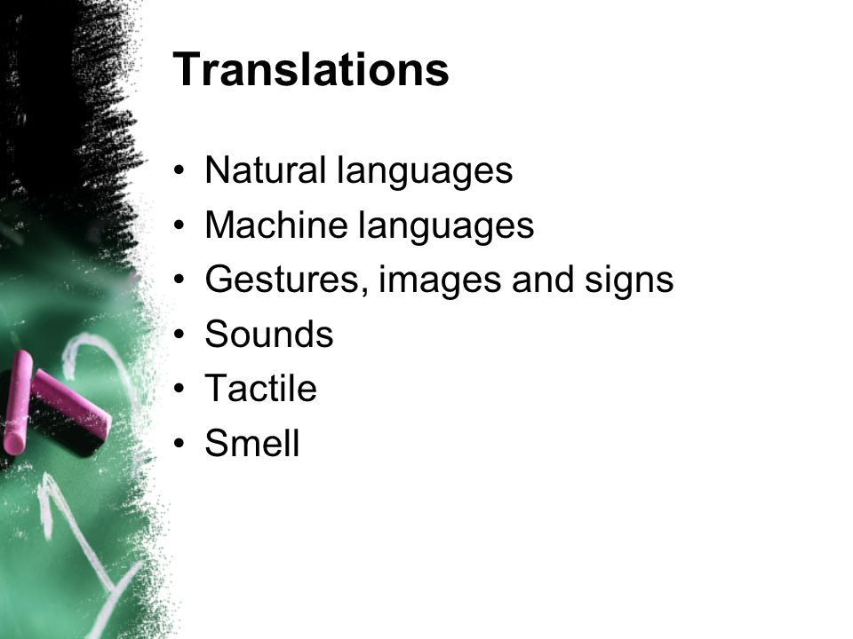 Translations Natural languages Machine languages Gestures, images and signs Sounds Tactile Smell