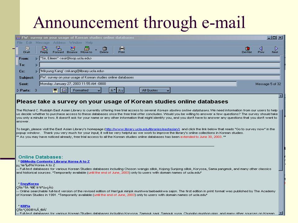 Announcement through e-mail