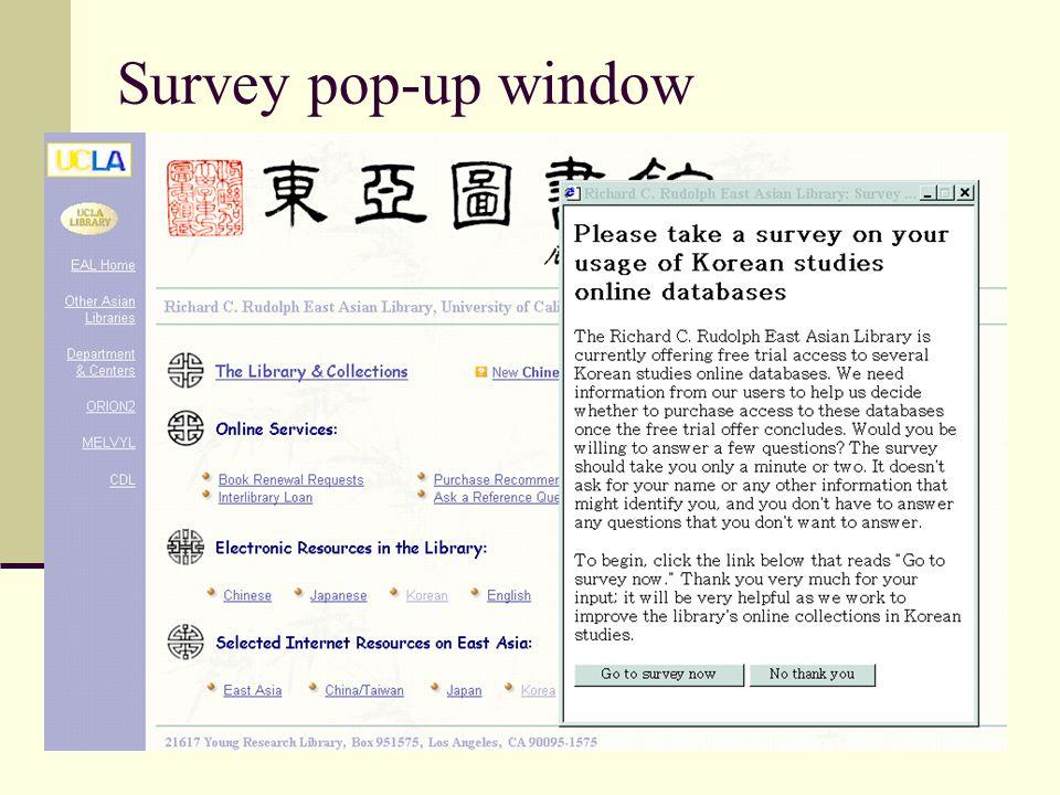 Survey pop-up window
