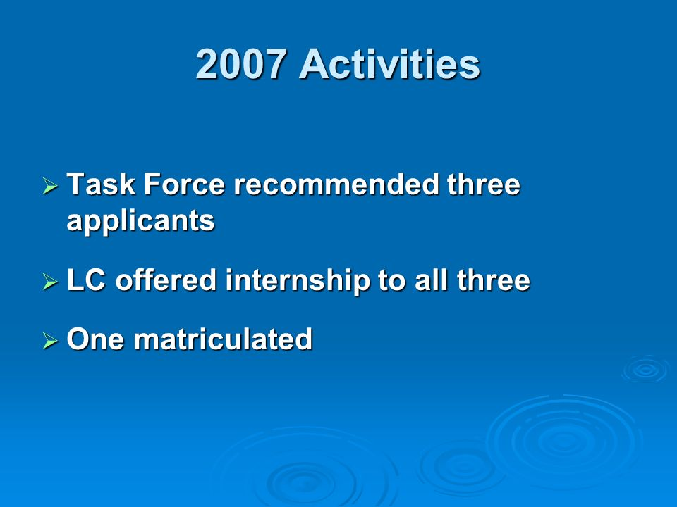 2007 Activities Task Force recommended three applicants Task Force recommended three applicants LC offered internship to all three LC offered internship to all three One matriculated One matriculated