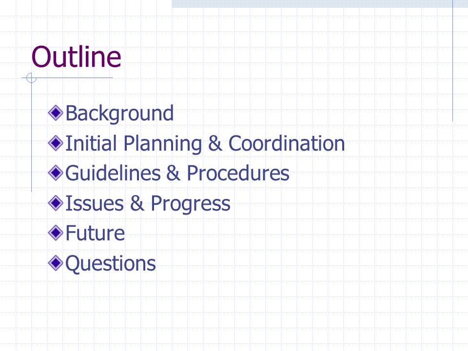 Outline Background Initial Planning & Coordination Guidelines & Procedures Issues & Progress Future Questions