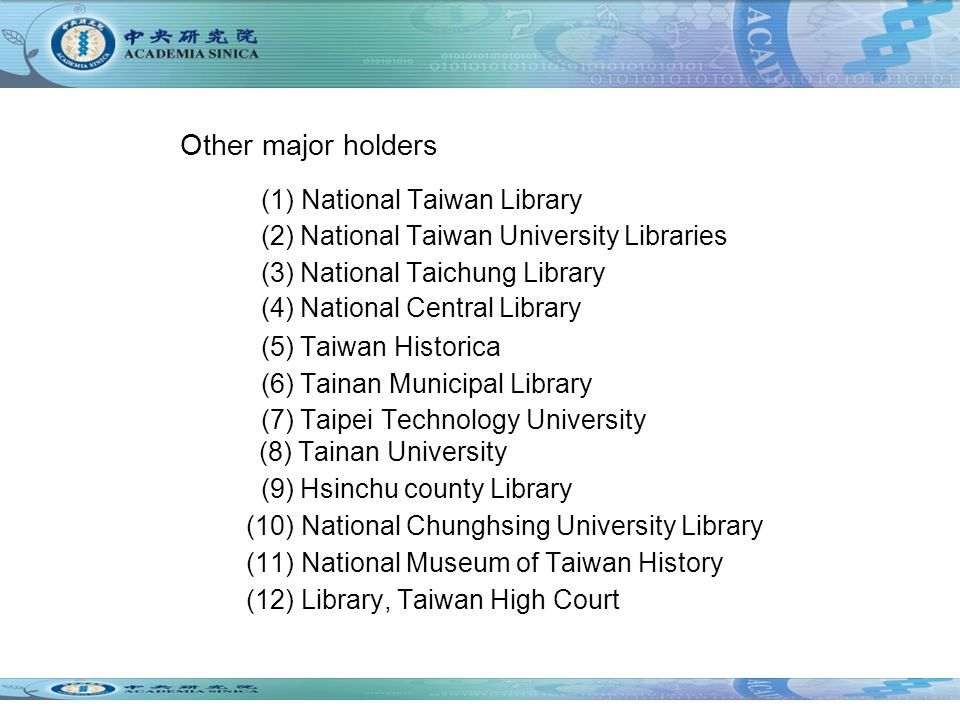 Other major holders (1) National Taiwan Library (2) National Taiwan University Libraries (3) National Taichung Library (4) National Central Library (5) Taiwan Historica (6) Tainan Municipal Library (7) Taipei Technology University (8) Tainan University (9) Hsinchu county Library (10) National Chunghsing University Library (11) National Museum of Taiwan History (12) Library, Taiwan High Court