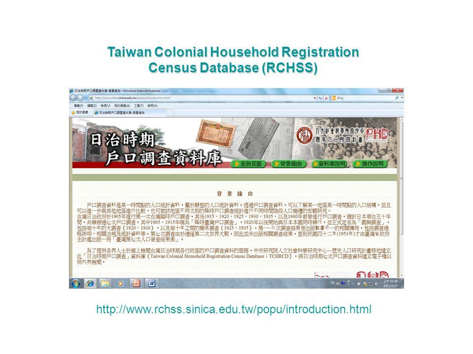http://www.rchss.sinica.edu.tw/popu/introduction.html Taiwan Colonial Household Registration Census Database (RCHSS)