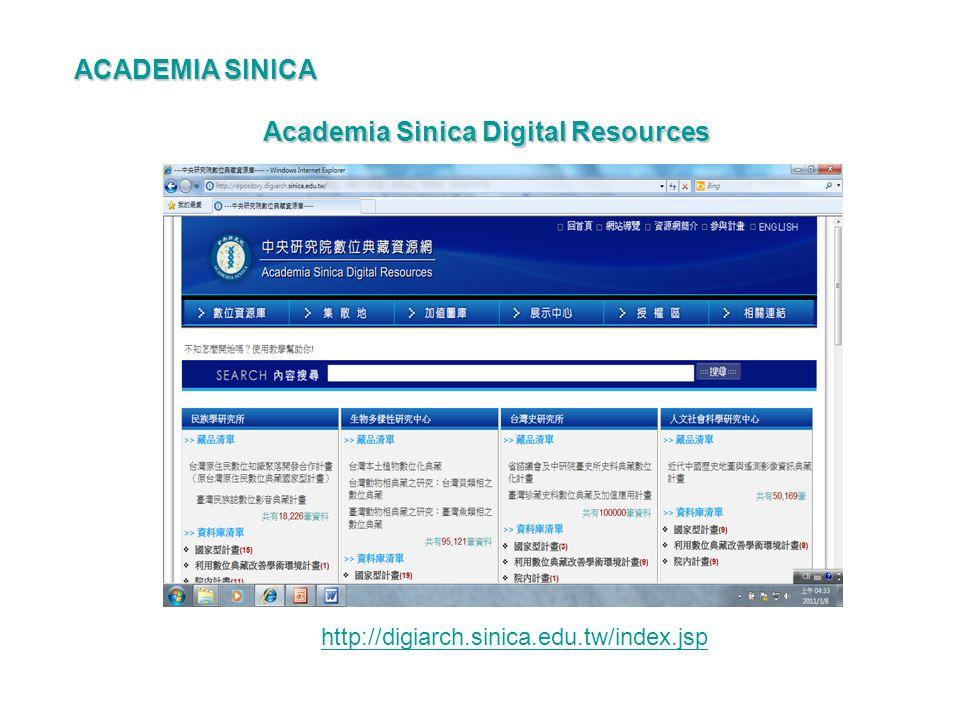 Academia Sinica Digital Resources http://digiarch.sinica.edu.tw/index.jsp ACADEMIA SINICA