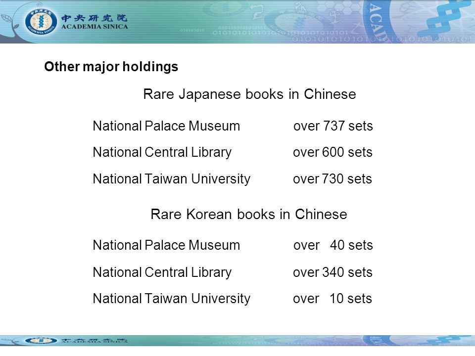 National Palace Museum over 737 sets National Central Library over 600 sets National Taiwan University over 730 sets Rare Korean books in Chinese National Palace Museum over 40 sets National Central Library over 340 sets National Taiwan University over 10 sets Other major holdings Rare Japanese books in Chinese