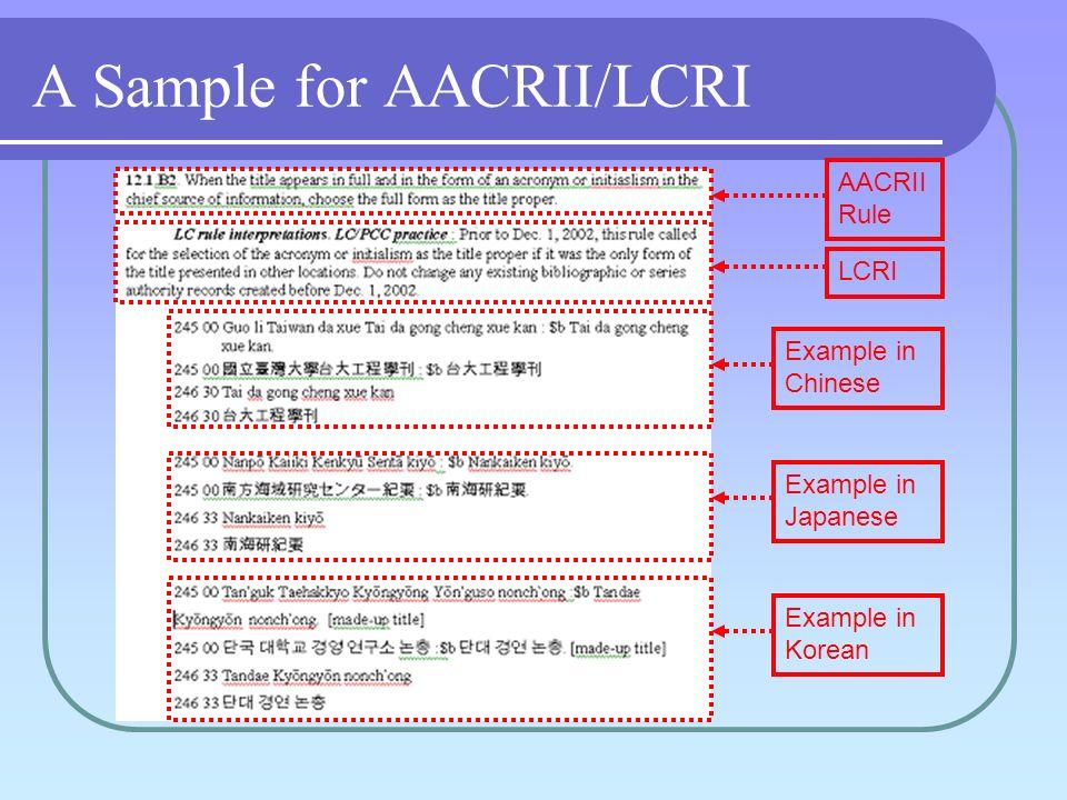 Parallel Field Arrangement Romanization first Subfield delimiter $b CJK script field next