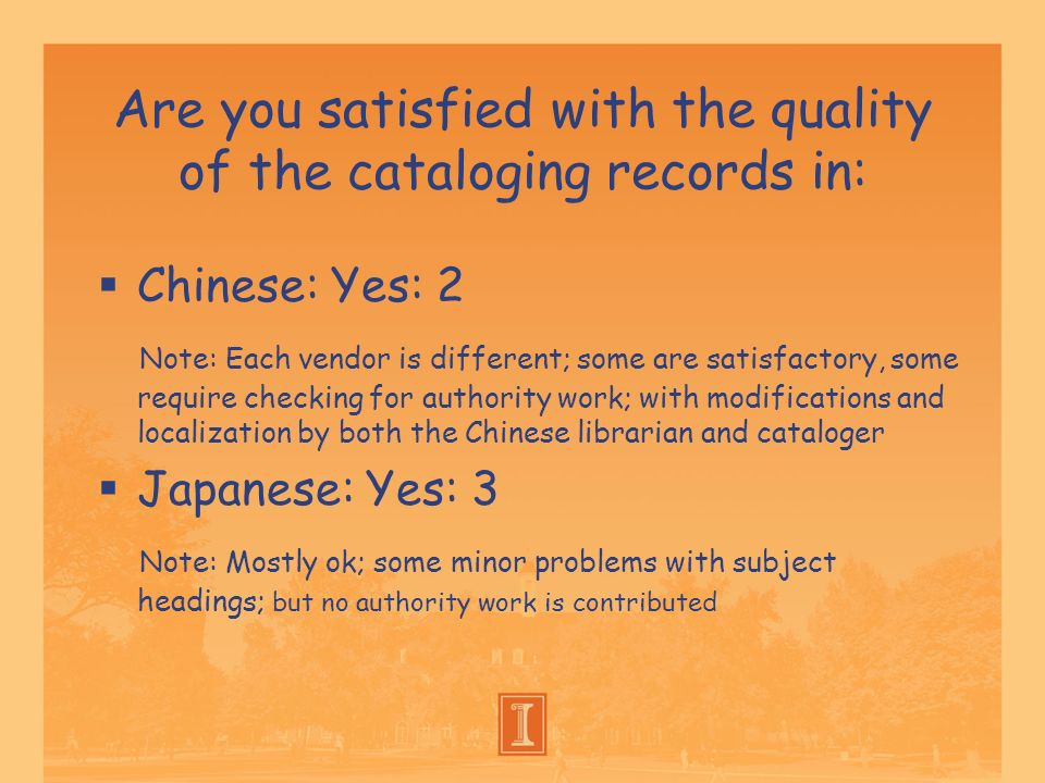 Are you satisfied with the quality of the cataloging records in: Chinese: Yes: 2 Note: Each vendor is different; some are satisfactory, some require c