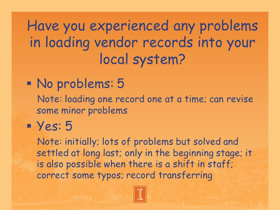 Have you experienced any problems in loading vendor records into your local system? No problems: 5 Note: loading one record one at a time; can revise