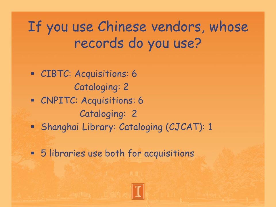If you use Chinese vendors, whose records do you use? CIBTC: Acquisitions: 6 Cataloging: 2 CNPITC: Acquisitions: 6 Cataloging: 2 Shanghai Library: Cat