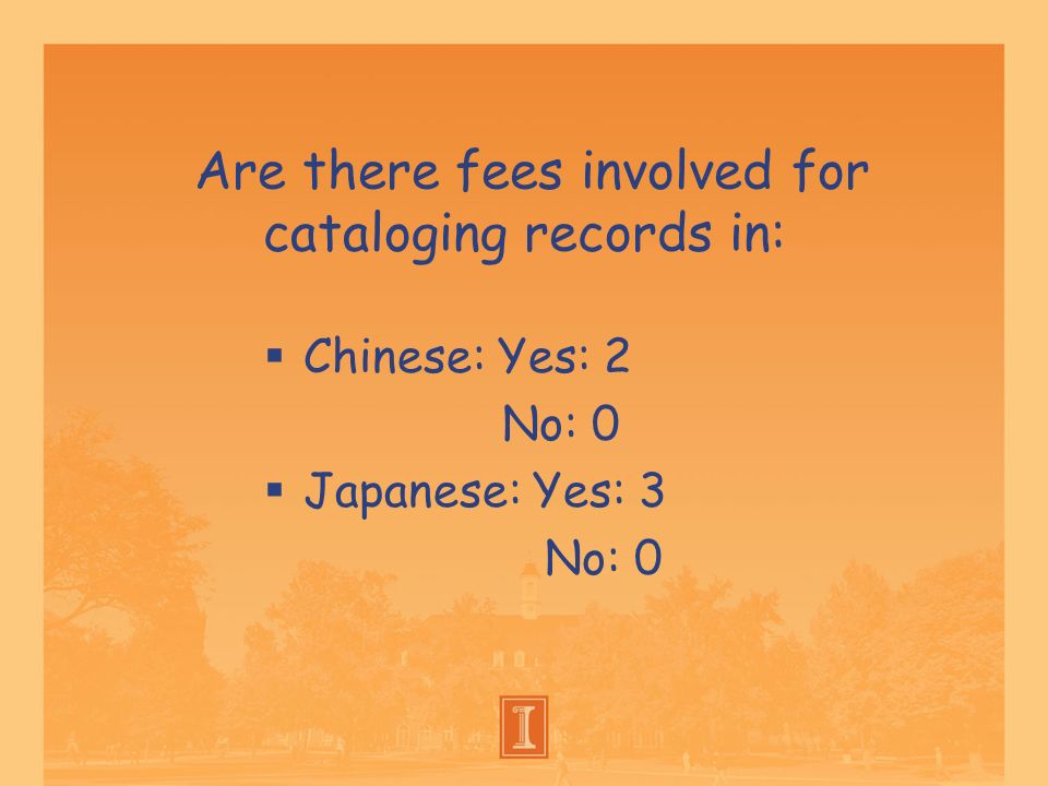 Are there fees involved for cataloging records in: Chinese: Yes: 2 No: 0 Japanese: Yes: 3 No: 0