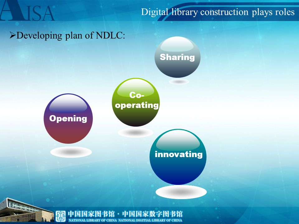 Developing plan of NDLC: Opening, Cooperating, Sharing and innovating With construction of one repository one network three platforms we forge a new public culture service form based on new media With construction of resource construction centre, resource preservation centre and resource service centre constructing distributed public culture resource repository, forming a digital library virtual network with nationwide coverage, and constructing excellent Chinese culture centralized demonstration platform, open information service platform, and international communication platform for promotion of Chinese culture, all of which cover the nation and the world; Digital library construction plays roles