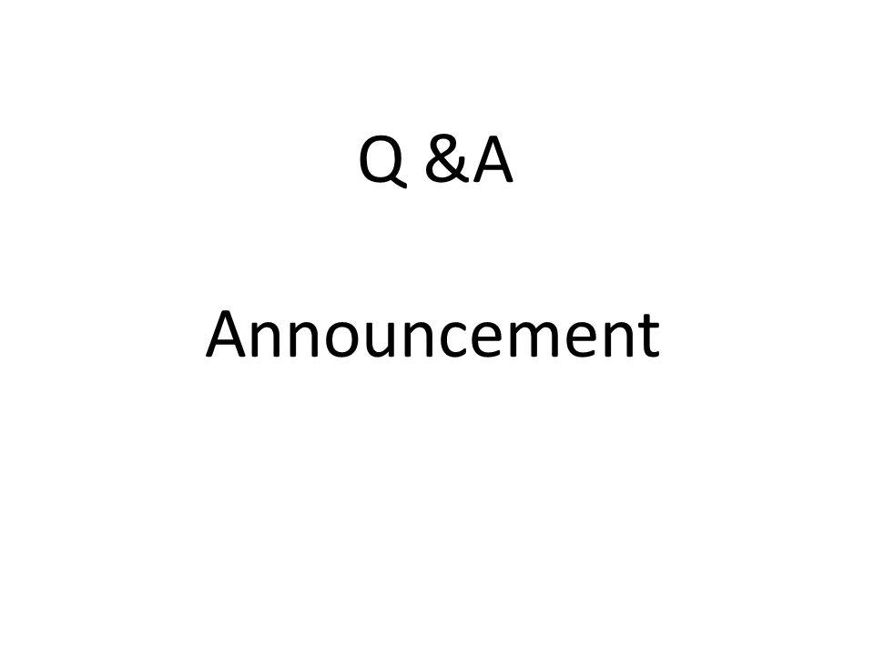 Q &A Announcement