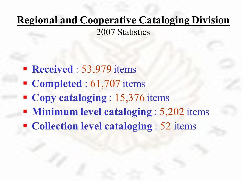 N ew Name Authorities: 12,061 N ew Series Authorities: 110 M odified Authorities: 4,406 N ew Subject Authorities: 466 C lass Numbers Established: 521 B ibliographic Records Changed: 7,107
