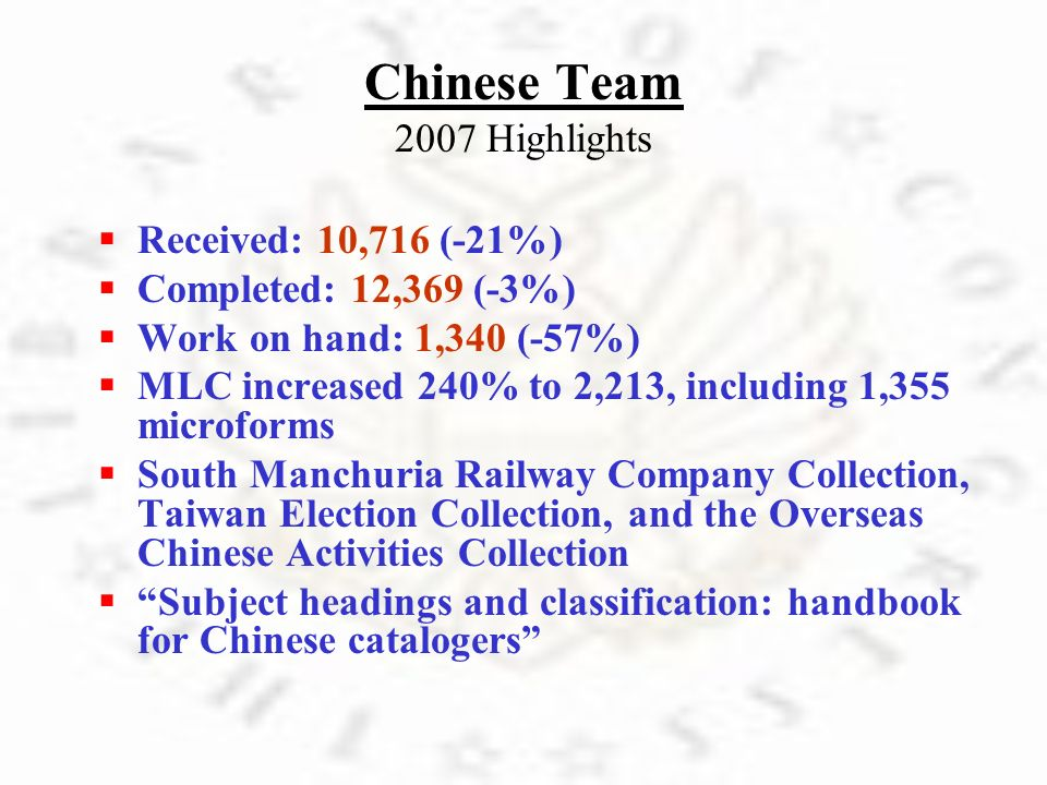 Chinese Team 2007 Highlights R eceived: 10,716 (-21%) C ompleted: 12,369 (-3%) W ork on hand: 1,340 (-57%) M LC increased 240% to 2,213, including 1,3