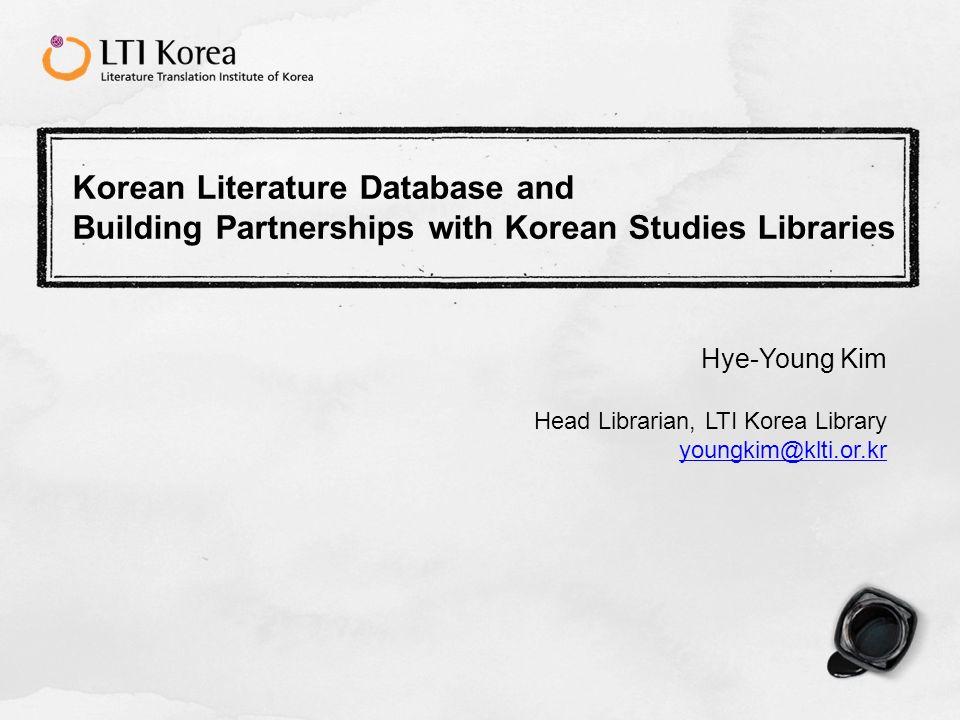 12 2.3 Author Database Information database on 1013 Korean writers.