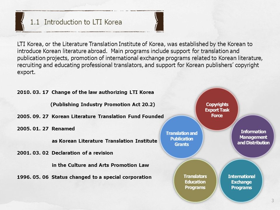 Quarterly Paper book _list (English, Chinese) Quarterly Newsletter plus+ list (English, Chinese) 4 LTI Korea prints a variety of bulletins to provide information on Korean literature throughout the world.