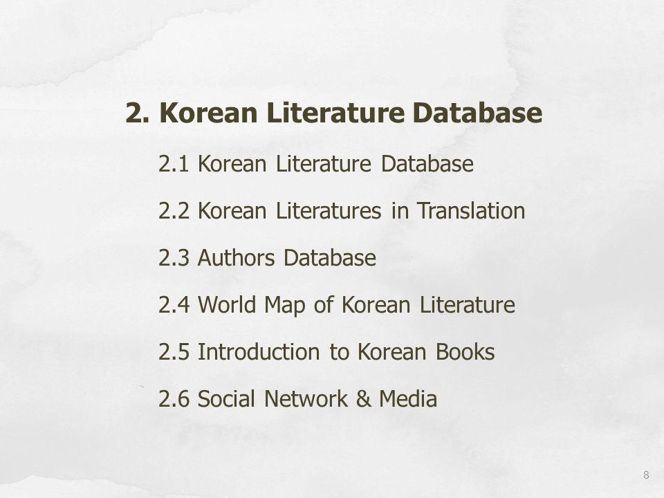 2. Korean Literature Database 2.1 Korean Literature Database 2.2 Korean Literatures in Translation 2.3 Authors Database 2.4 World Map of Korean Litera