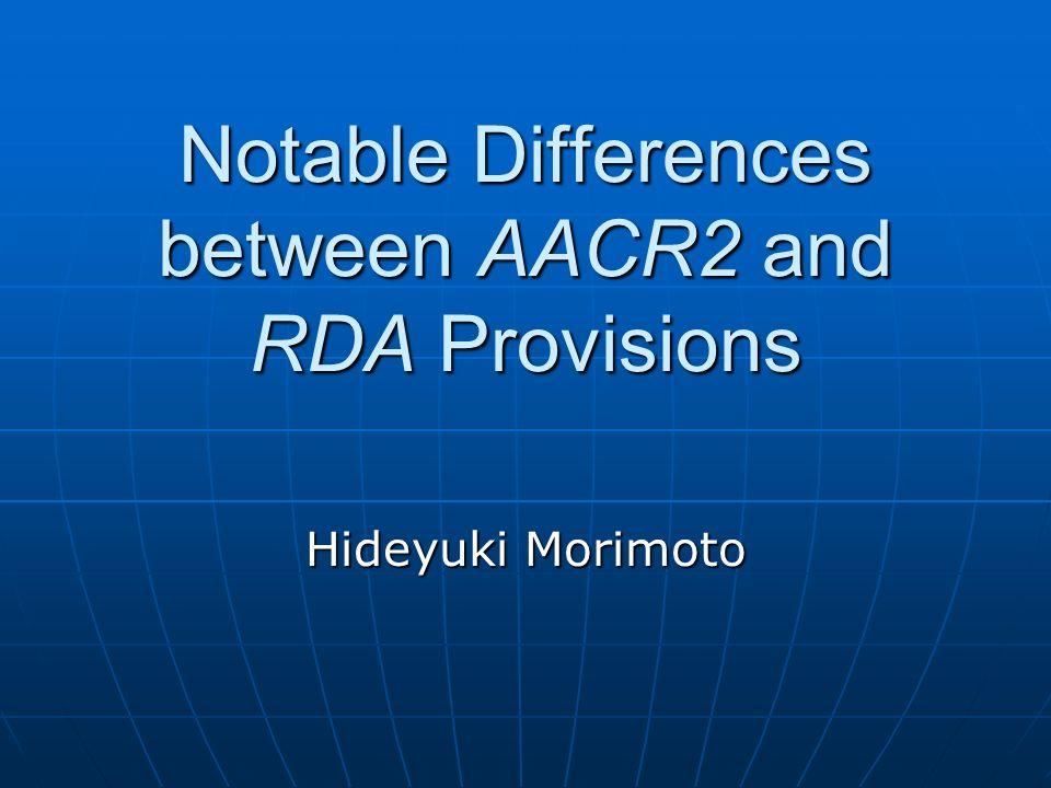 Proviso RDA not yet finalized RDA not yet finalized Presentation based on full draft, fall 2008Presentation based on full draft, fall 2008 Subject to change at Mar.