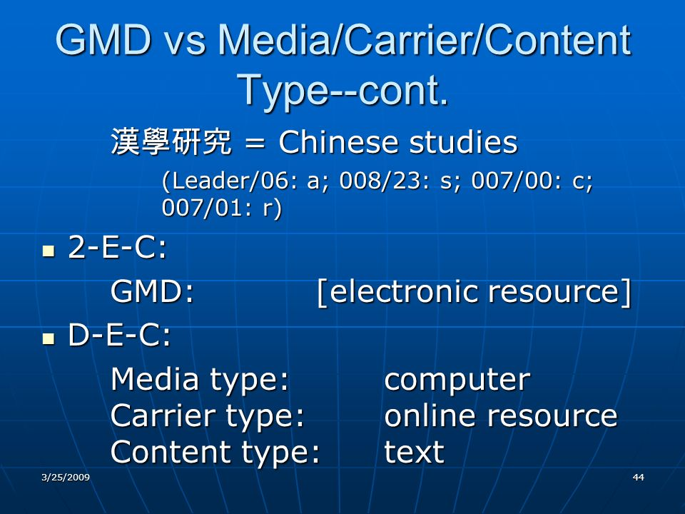 GMD vs Media/Carrier/Content Type--cont.