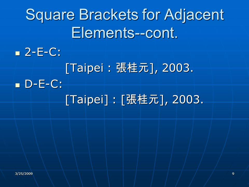 Square Brackets for Adjacent Elements--cont. 2-E-C: 2-E-C: [Taipei : ], 2003.