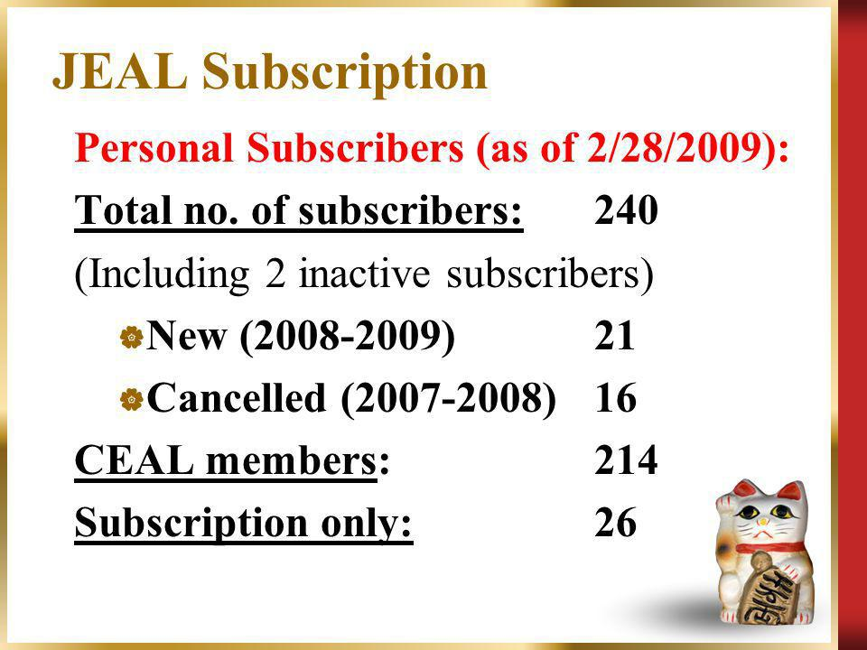 JEAL Subscription Personal Subscribers (as of 2/28/2009): Total no. of subscribers:240 (Including 2 inactive subscribers) New (2008-2009)21 Cancelled