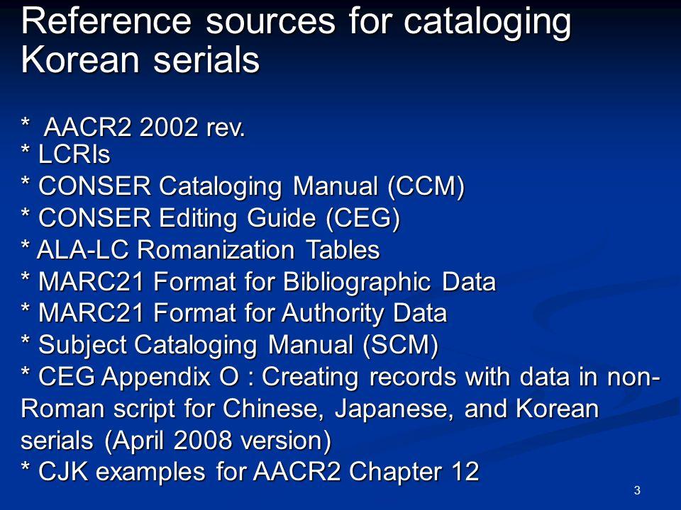 4 CONSER Record * Encoding level: blank, 4, 7 * 042 : lc,lcd,msc Non-CONSER Record Non-CONSER Record * Encoding level: I (full)