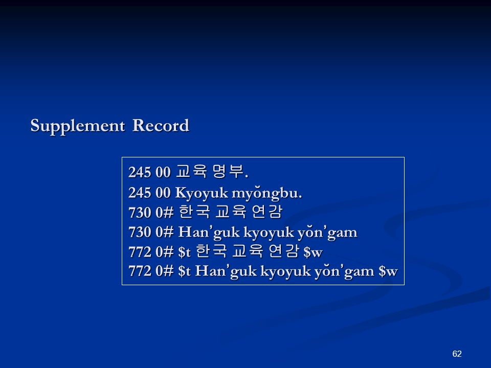 62 Supplement Record 245 00. 245 00 Kyoyuk myo ̆ ngbu.
