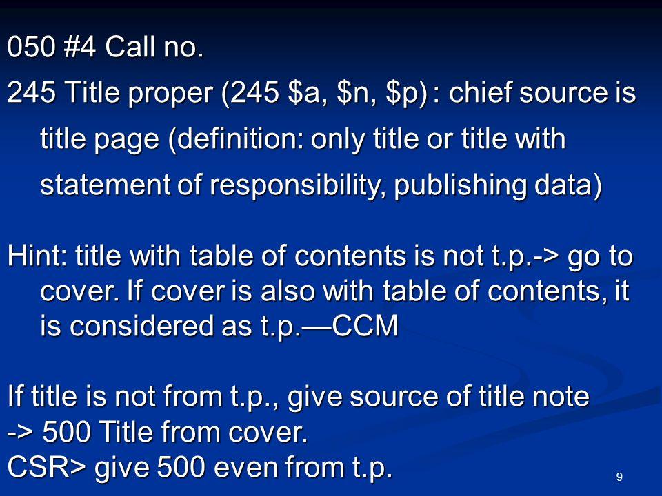 20 245 $c Statement of responsibility 245 00 /$c.245 00 /$c.
