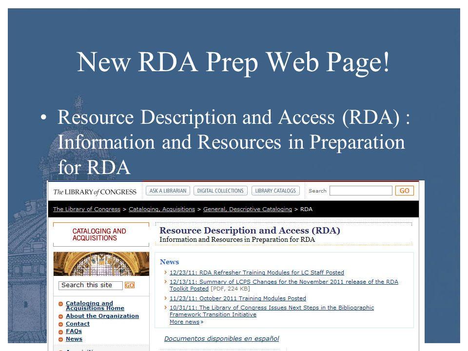 New RDA Prep Web Page.