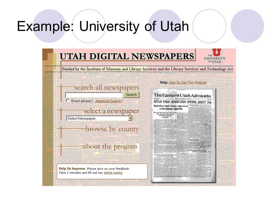Example: University of Utah