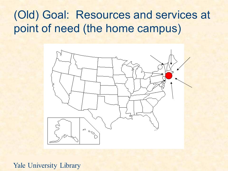 Yale University Library An infrastructure for library resources in Beijing (2) Issues: VPN: access to library digital resources problematic Yale proprietary resources: lack of access for all Print books for class use: the problem of recalls Expertise in non-East Asian studies fields