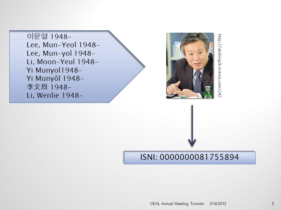 3/14/2012CEAL Annual Meeting, Toronto5 ISNI: 0000000081755894 1948- Lee, Mun-Yeol 1948- Lee, Mun-yol 1948- Li, Moon-Yeul 1948- Yi Munyol1948- Yi Munyǒ