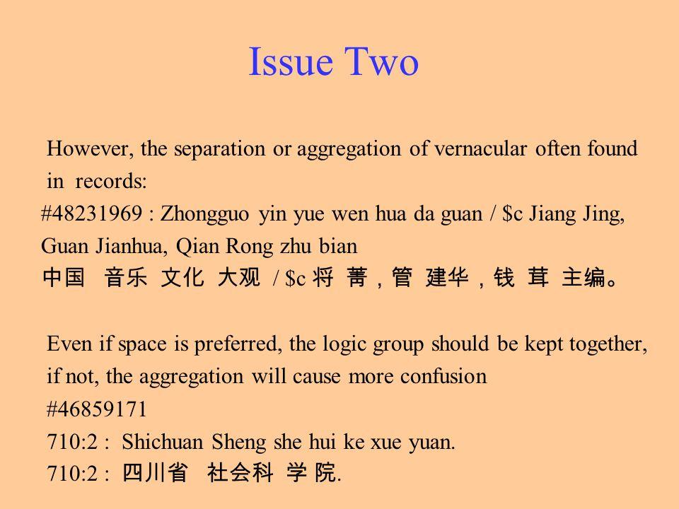 Issue Two However, the separation or aggregation of vernacular often found in records: #48231969 : Zhongguo yin yue wen hua da guan / $c Jiang Jing, G