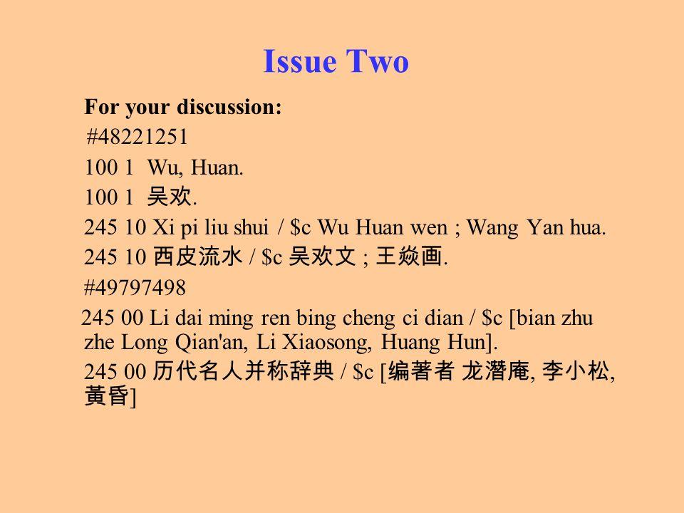 Issue Two For your discussion: #48221251 100 1 Wu, Huan. 100 1. 245 10 Xi pi liu shui / $c Wu Huan wen ; Wang Yan hua. 245 10 / $c ;. #49797498 245 00