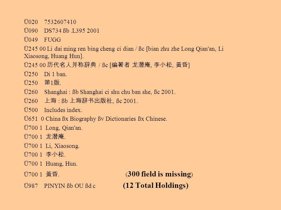 Ü020 7532607410 Ü090 DS734 ßb.L395 2001 Ü049 FUGG Ü245 00 Li dai ming ren bing cheng ci dian / ßc [bian zhu zhe Long Qian'an, Li Xiaosong, Huang Hun].
