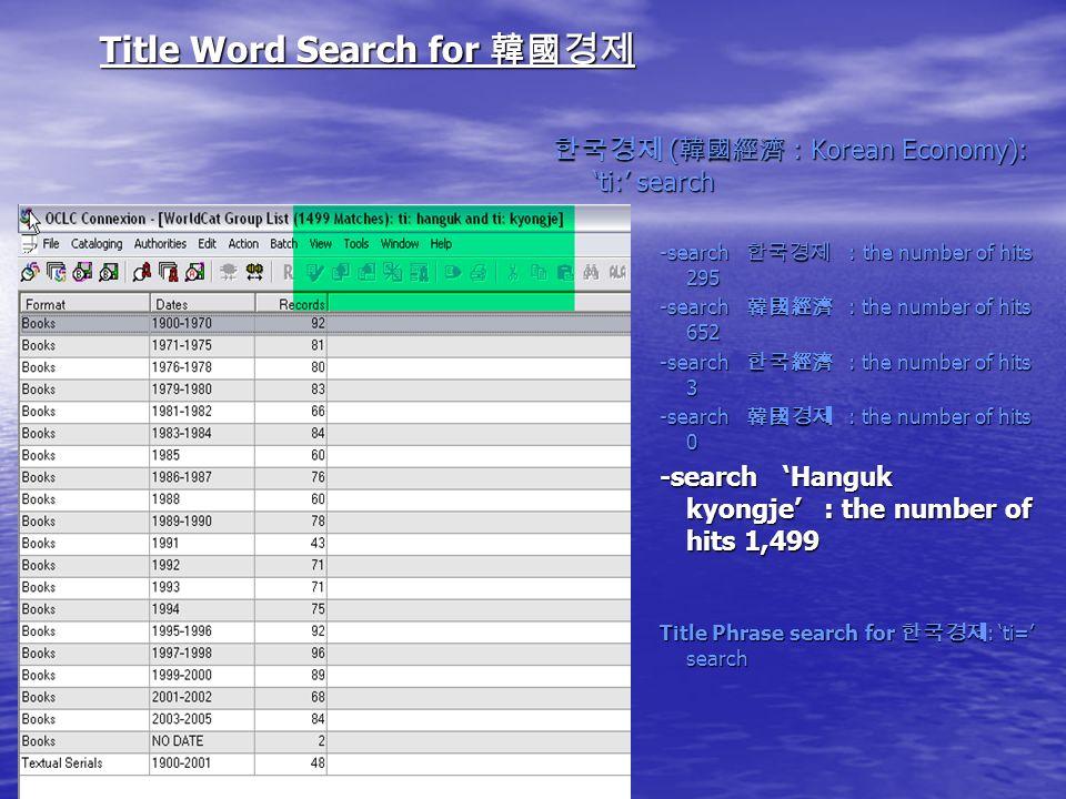 Title Word Search for Title Word Search for ( : Korean Economy): ti: search ( : Korean Economy): ti: search -search : the number of hits 295 -search : the number of hits 652 -search : the number of hits 3 -search : the number of hits 0 -search Hanguk kyongje : the number of hits 1,499 Title Phrase search for : ti= search