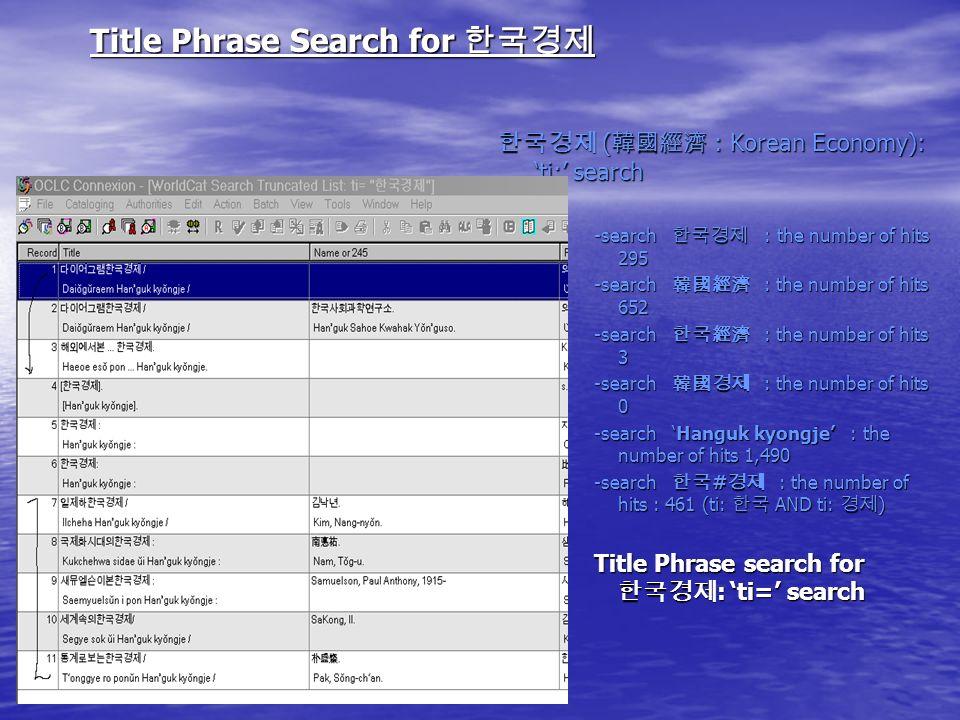Title Phrase Search for Title Phrase Search for ( : Korean Economy): ti: search ( : Korean Economy): ti: search -search : the number of hits 295 -search : the number of hits 652 -search : the number of hits 3 -search : the number of hits 0 -search Hanguk kyongje : the number of hits 1,490 -search # : the number of hits : 461 (ti: AND ti: ) Title Phrase search for : ti= search