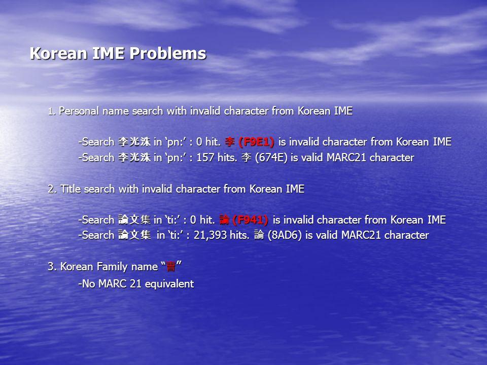 Korean IME Problems 1.