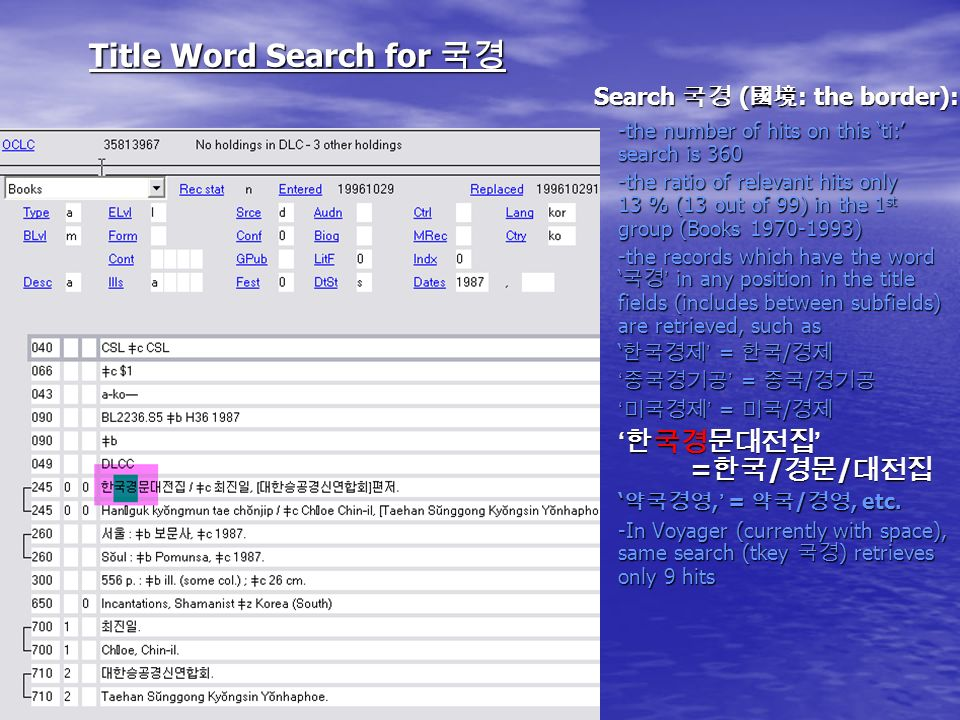 Title Word Search for Title Word Search for Search ( : the border): -the number of hits on this ti: search is 360 -the ratio of relevant hits only 13 % (13 out of 99) in the 1 st group (Books 1970-1993) -the records which have the word in any position in the title fields (includes between subfields) are retrieved, such as = / = / /, = /, etc.