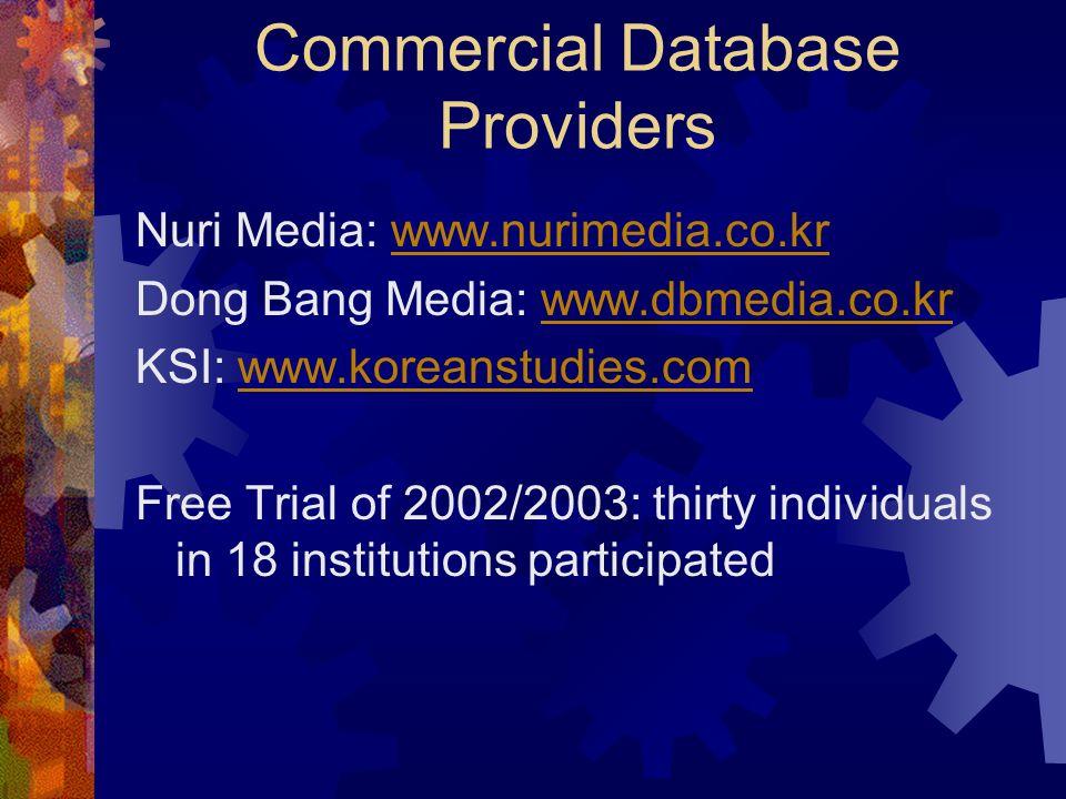Commercial Database Providers Nuri Media: www.nurimedia.co.krwww.nurimedia.co.kr Dong Bang Media: www.dbmedia.co.krwww.dbmedia.co.kr KSI: www.koreanst