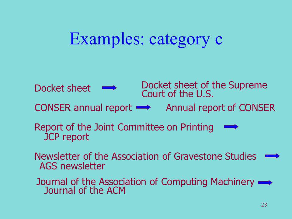 28 Examples: category c Docket sheet Docket sheet of the Supreme Court of the U.S. CONSER annual reportAnnual report of CONSER Report of the Joint Com