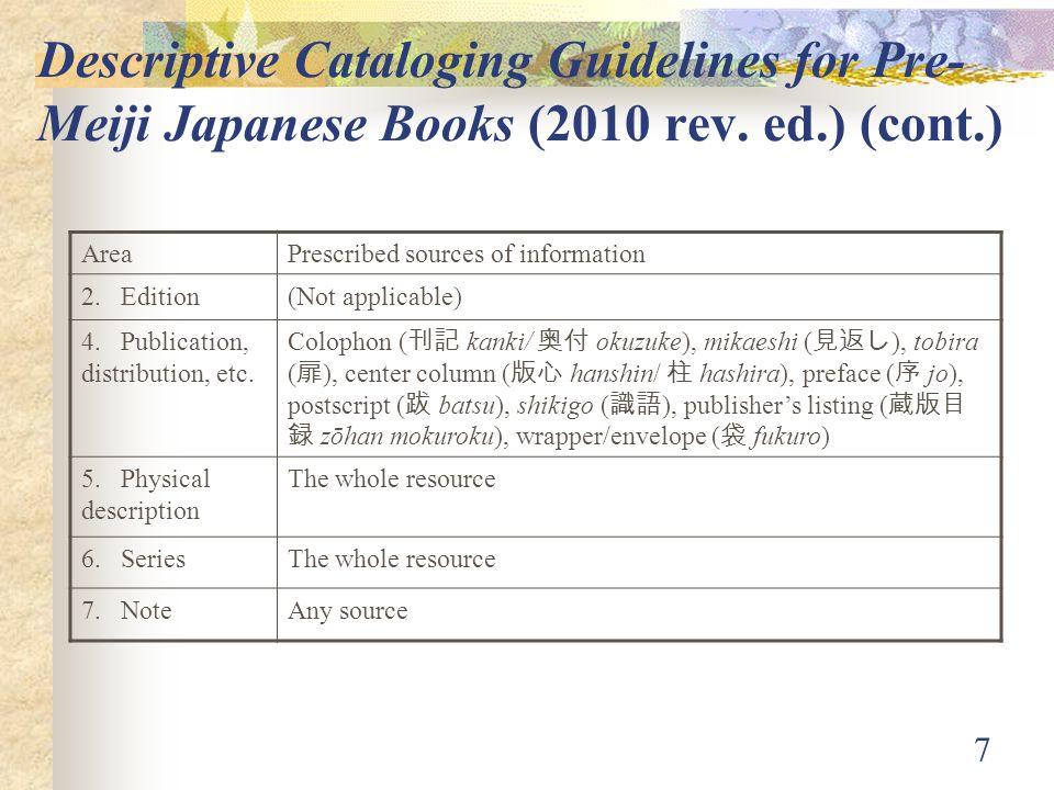 7 Descriptive Cataloging Guidelines for Pre- Meiji Japanese Books (2010 rev.