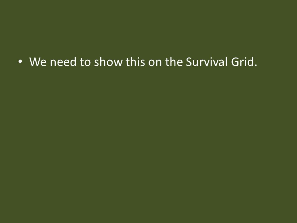 We need to show this on the Survival Grid.