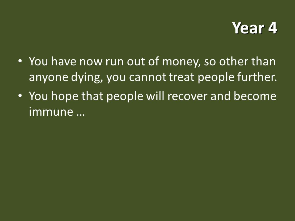 Year 4 You have now run out of money, so other than anyone dying, you cannot treat people further.