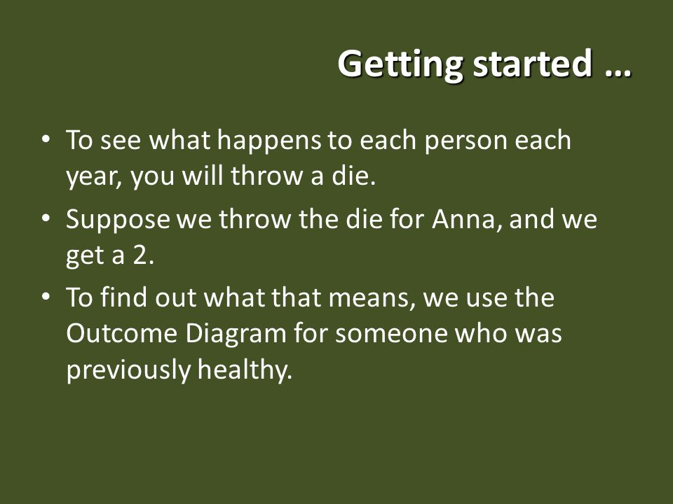 Getting started … To see what happens to each person each year, you will throw a die.