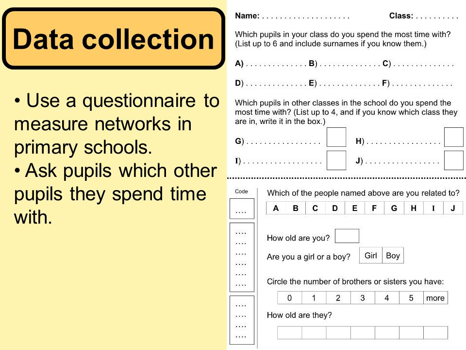 Data collection Use a questionnaire to measure networks in primary schools.