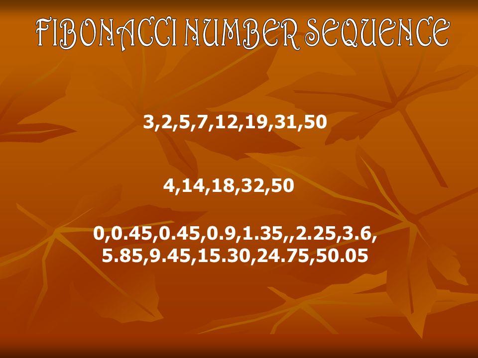 0,0.45,0.45,0.9,1.35,,2.25,3.6, 5.85,9.45,15.30,24.75,50.05 3,2,5,7,12,19,31,50 4,14,18,32,50
