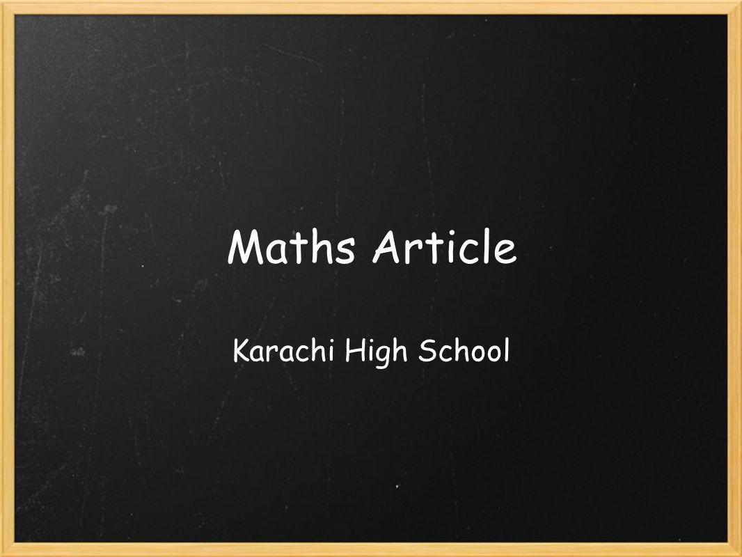 Maths Article Karachi High School