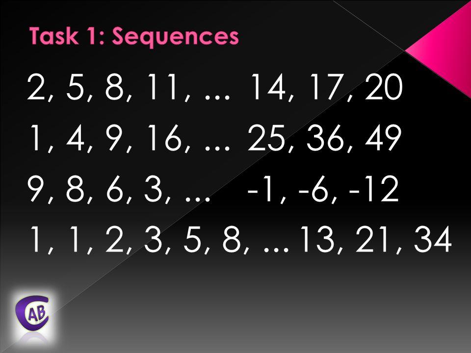 2, 5, 8, 11,... 1, 4, 9, 16,... 9, 8, 6, 3,... 1, 1, 2, 3, 5, 8,... 14, 17, 20 25, 36, 49 -1, -6, -12 13, 21, 34